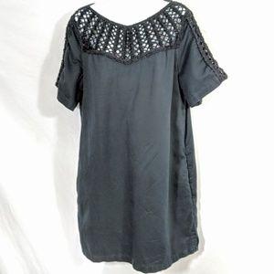 Anthropologie Maeve Linen Dress Crocheted Details